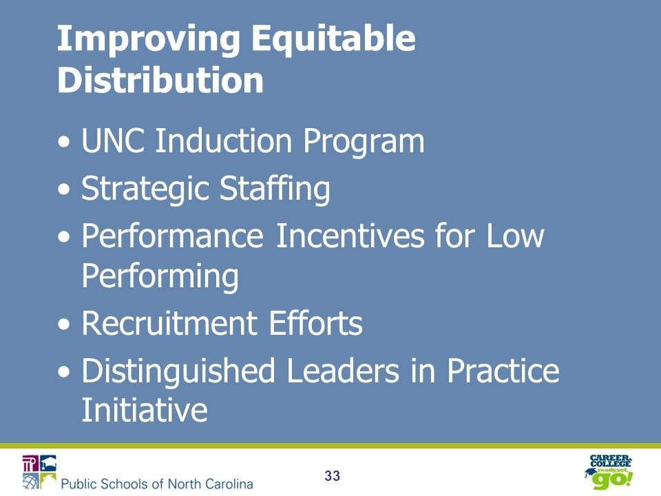 Improving Equitable Distribution UNC Induction Program Strategic Staffing Performance Incentives for Low Performing Recruitment Efforts Distinguished Leaders in Practice Initiative 33