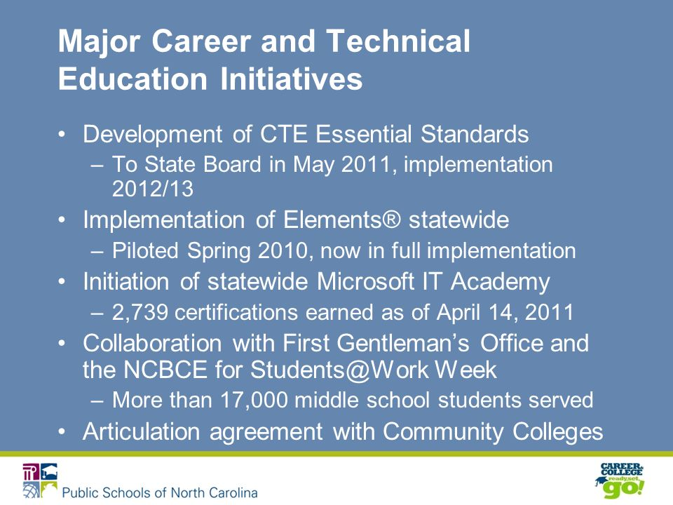 Major Career and Technical Education Initiatives Development of CTE Essential Standards –To State Board in May 2011, implementation 2012/13 Implementation of Elements® statewide –Piloted Spring 2010, now in full implementation Initiation of statewide Microsoft IT Academy –2,739 certifications earned as of April 14, 2011 Collaboration with First Gentlemans Office and the NCBCE for Week –More than 17,000 middle school students served Articulation agreement with Community Colleges