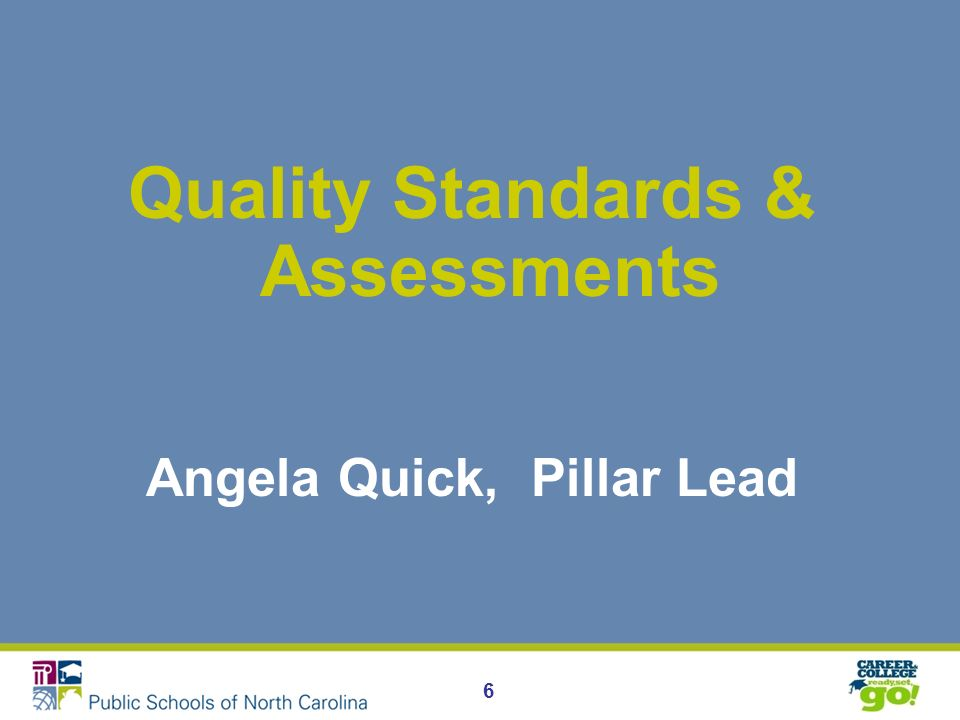 6 Quality Standards & Assessments Angela Quick, Pillar Lead