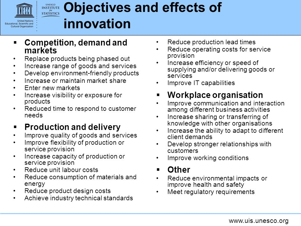 www.uis.unesco.org Objectives and effects of innovation Competition, demand and markets Replace products being phased out Increase range of goods and