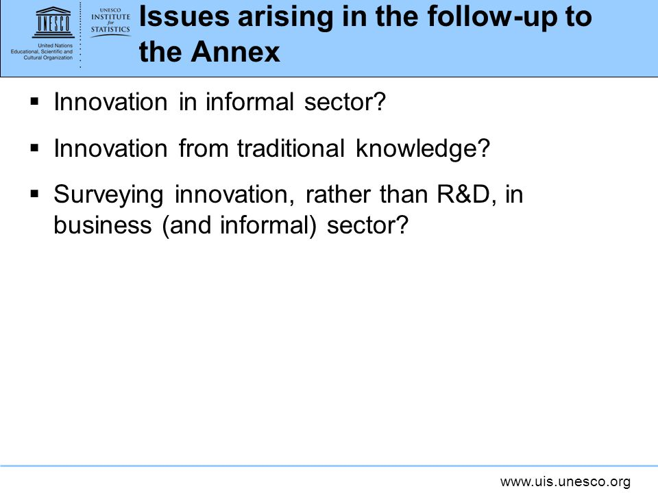 www.uis.unesco.org Issues arising in the follow-up to the Annex Innovation in informal sector? Innovation from traditional knowledge? Surveying innova