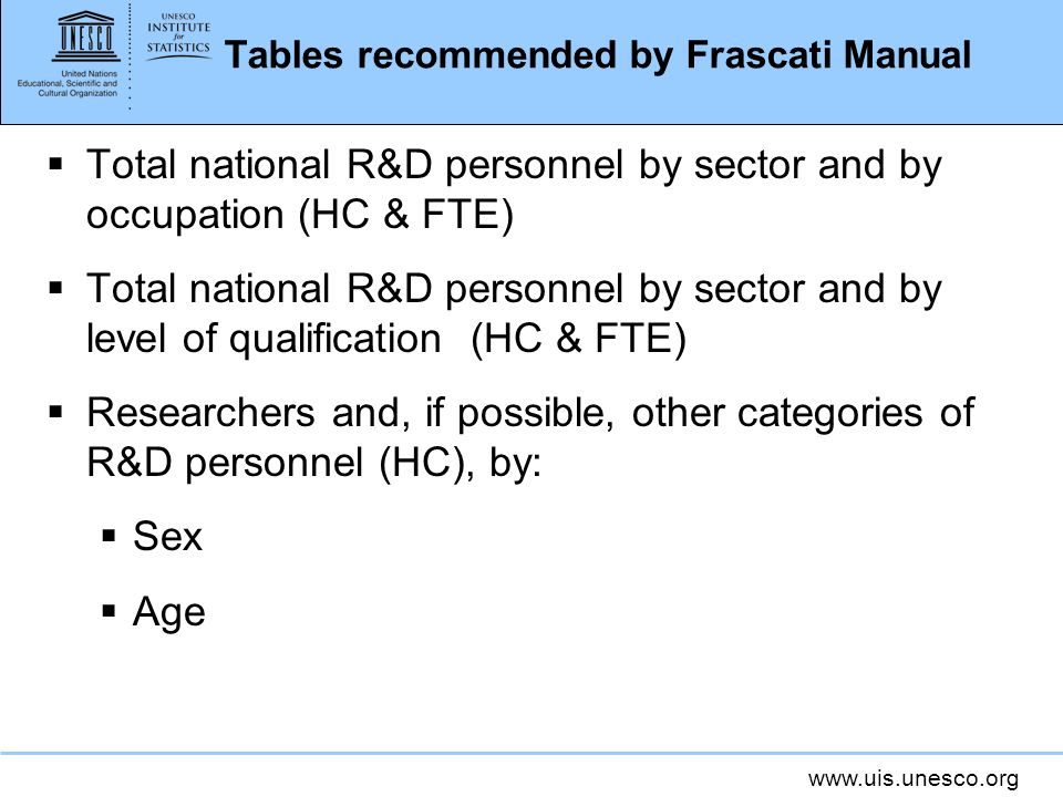 Tables recommended by Frascati Manual Total national R&D personnel by sector and by occupation (HC & FTE) Total national R&D personnel by sector and by level of qualification (HC & FTE) Researchers and, if possible, other categories of R&D personnel (HC), by: Sex Age