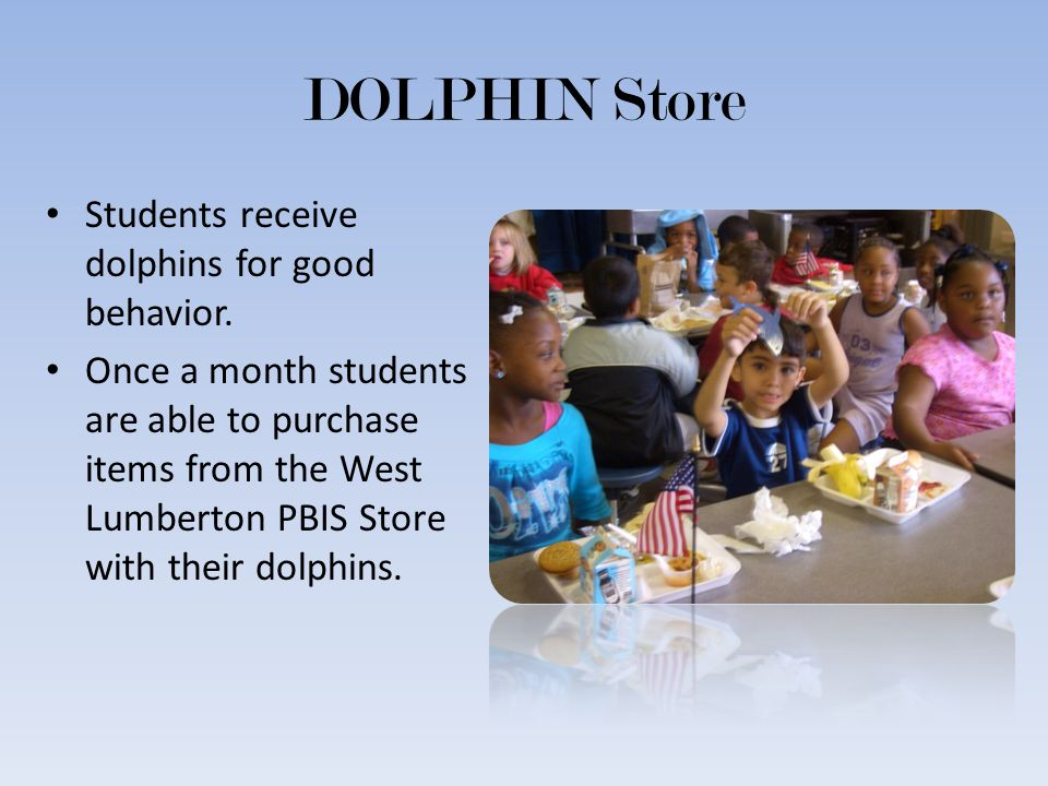 DOLPHIN Store Students receive dolphins for good behavior. Once a month students are able to purchase items from the West Lumberton PBIS Store with th