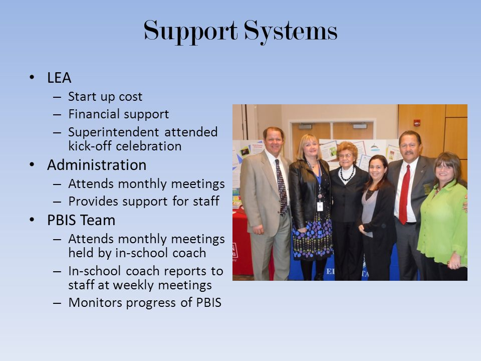 Support Systems LEA – Start up cost – Financial support – Superintendent attended kick-off celebration Administration – Attends monthly meetings – Pro