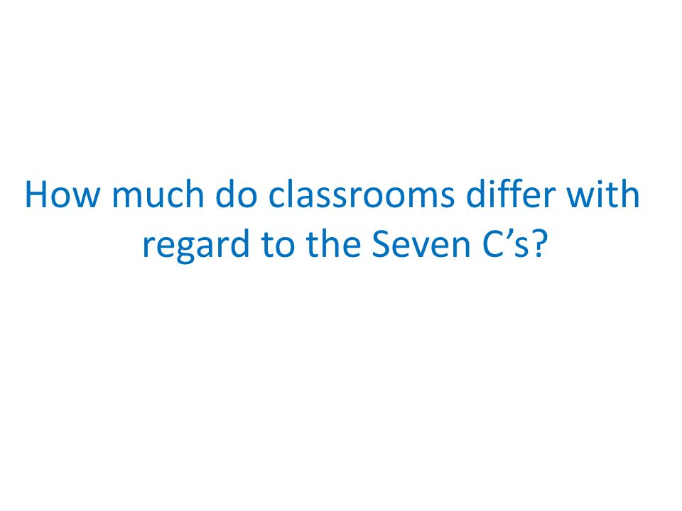 How much do classrooms differ with regard to the Seven Cs