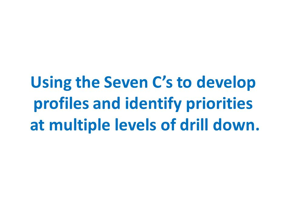 Using the Seven Cs to develop profiles and identify priorities at multiple levels of drill down.