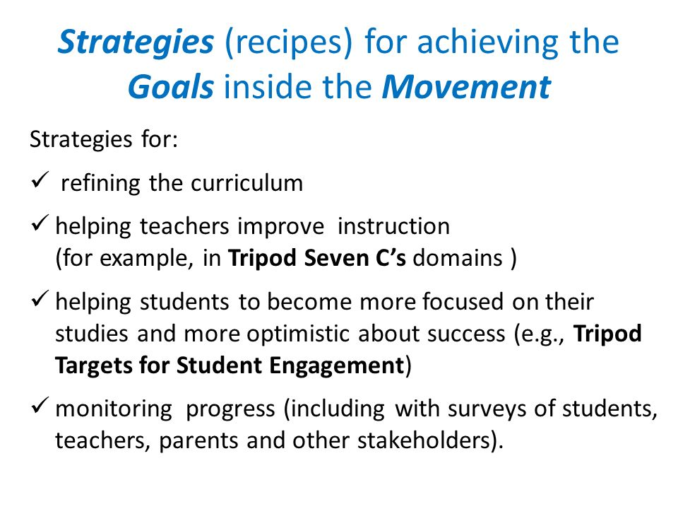 Strategies (recipes) for achieving the Goals inside the Movement Strategies for: refining the curriculum helping teachers improve instruction (for exa