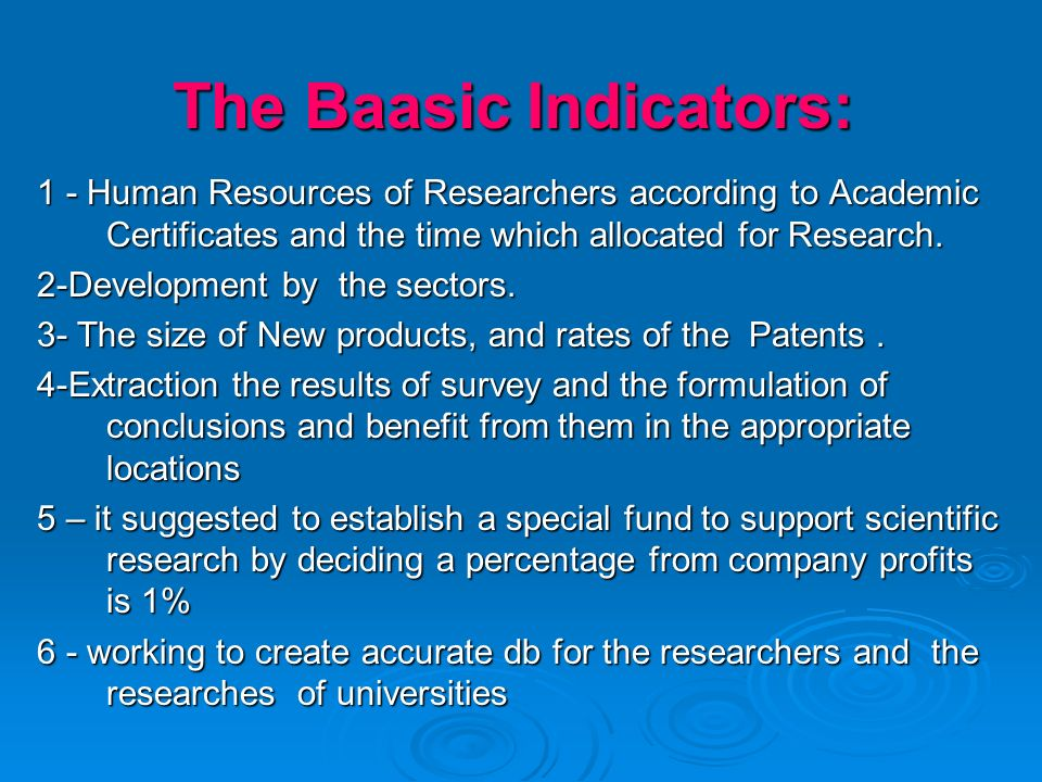 The Baasic Indicators: 1 - Human Resources of Researchers according to Academic Certificates and the time which allocated for Research. 2-Development