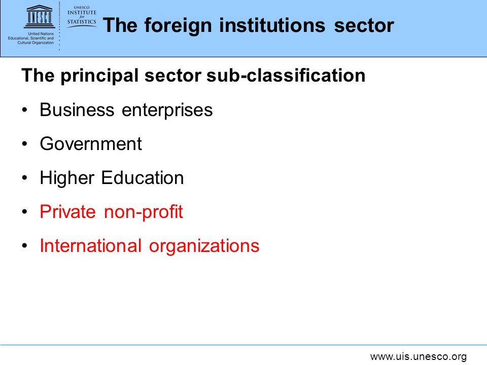 The foreign institutions sector The principal sector sub-classification Business enterprises Government Higher Education Private non-profit International organizations