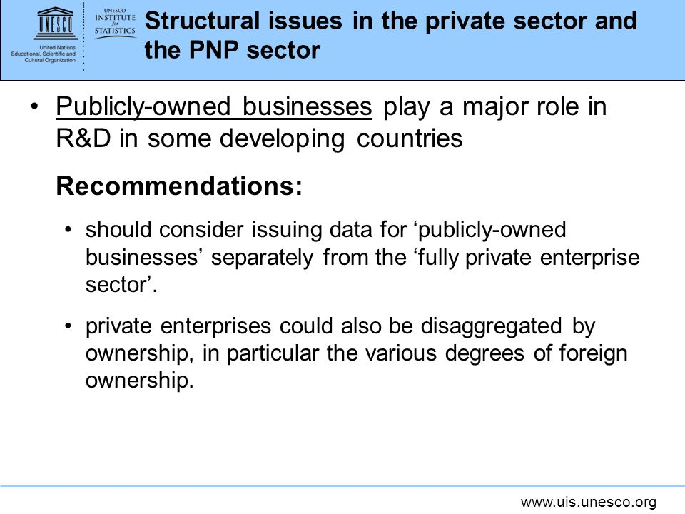 Structural issues in the private sector and the PNP sector Publicly-owned businesses play a major role in R&D in some developing countries Recommendations: should consider issuing data for publicly-owned businesses separately from the fully private enterprise sector.