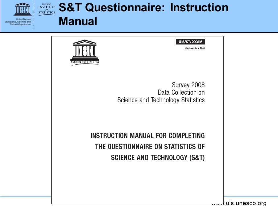 S&T Questionnaire: Instruction Manual