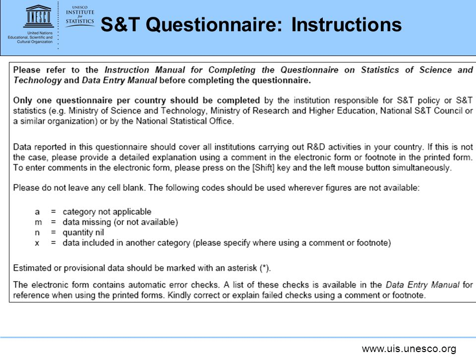 S&T Questionnaire: Instructions