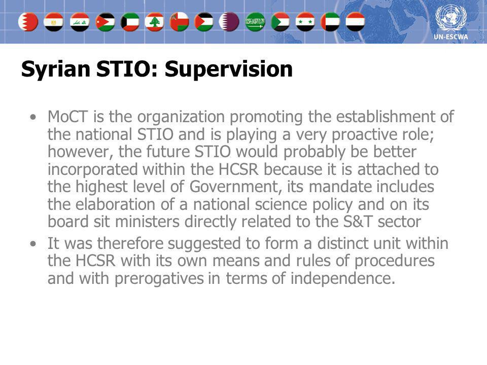 Syrian STIO: Supervision MoCT is the organization promoting the establishment of the national STIO and is playing a very proactive role; however, the