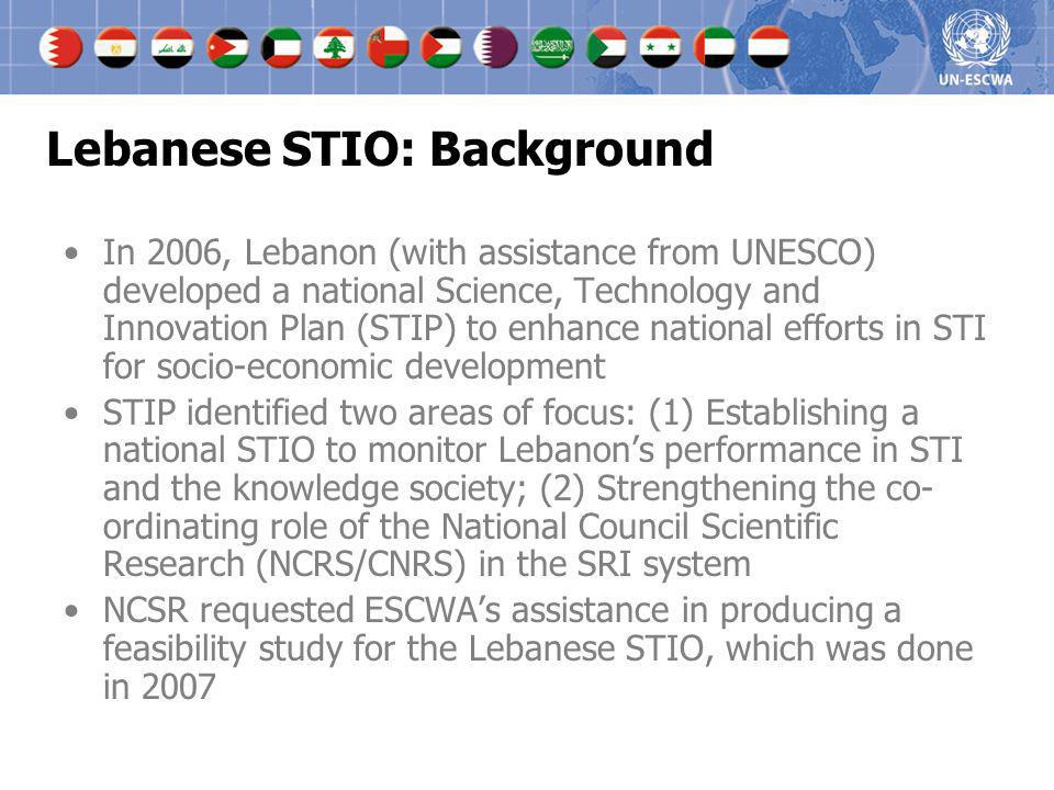 Lebanese STIO: Background In 2006, Lebanon (with assistance from UNESCO) developed a national Science, Technology and Innovation Plan (STIP) to enhanc