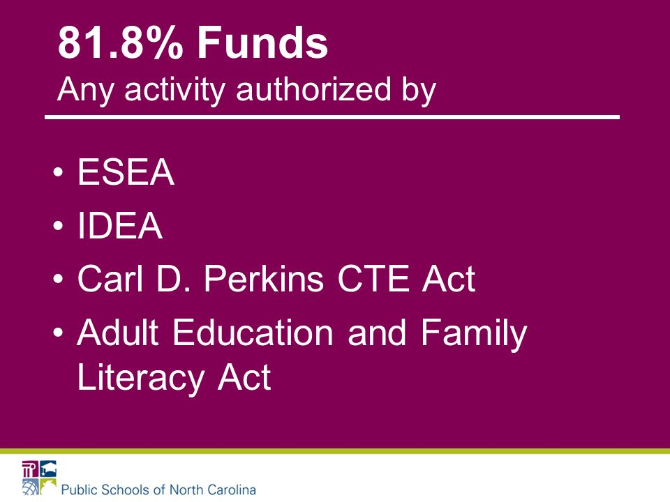 81.8% Funds Any activity authorized by ESEA IDEA Carl D. Perkins CTE Act Adult Education and Family Literacy Act