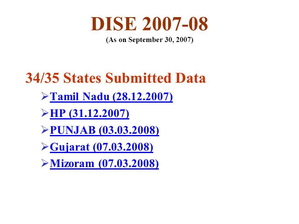 DISE 2007-08 (As on September 30, 2007) 34/35 States Submitted Data Tamil Nadu (28.12.2007) HP (31.12.2007) PUNJAB (03.03.2008) Gujarat (07.03.2008) Mizoram (07.03.2008)