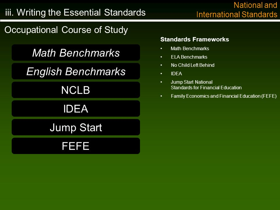 Standards Frameworks Math Benchmarks ELA Benchmarks No Child Left Behind IDEA Jump Start National Standards for Financial Education Family Economics and Financial Education (FEFE) Math Benchmarks English Benchmarks NCLB IDEA Jump Start Occupational Course of Study iii.