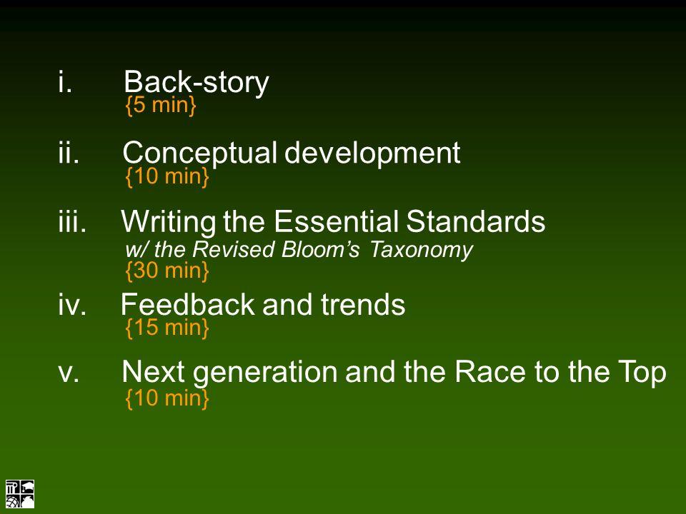 i. Back-story ii. Conceptual development {5 min} {10 min} iii.