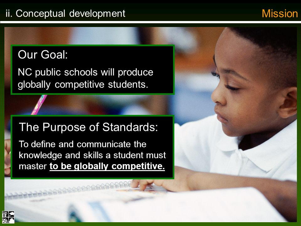 ii. Conceptual development Mission Our Goal: NC public schools will produce globally competitive students. The Purpose of Standards: To define and com