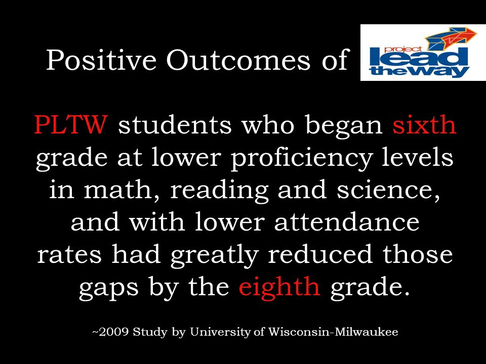 Positive Outcomes of PLTW students who began sixth grade at lower proficiency levels in math, reading and science, and with lower attendance rates had