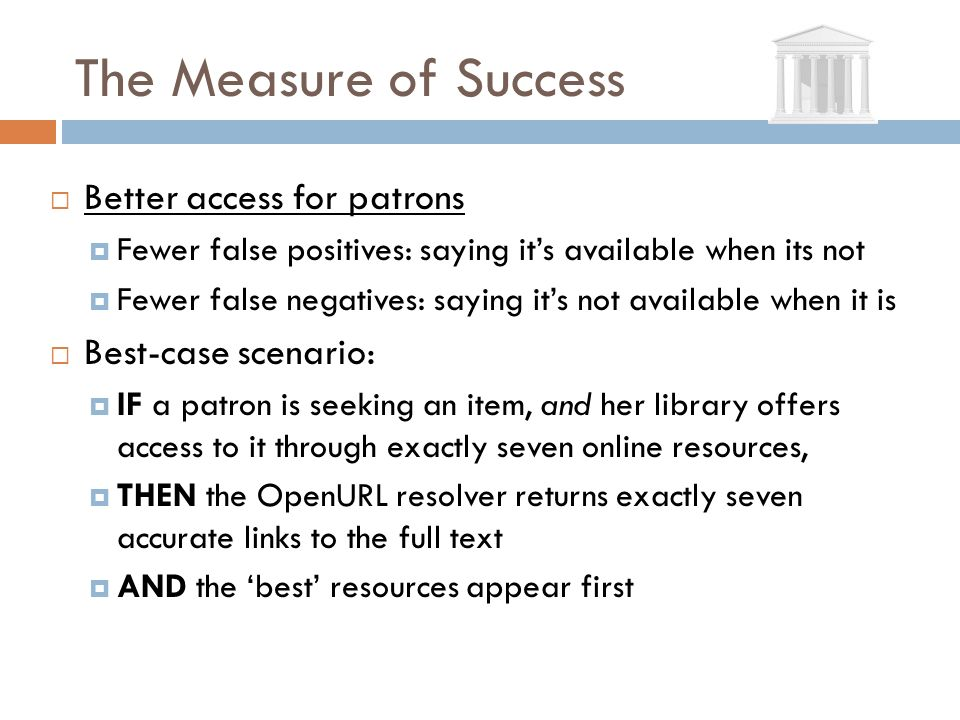 The Measure of Success Better access for patrons Fewer false positives: saying its available when its not Fewer false negatives: saying its not availa