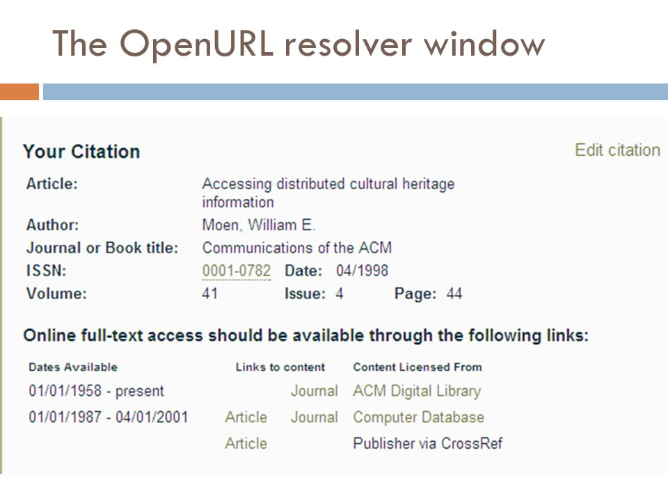 The OpenURL resolver window