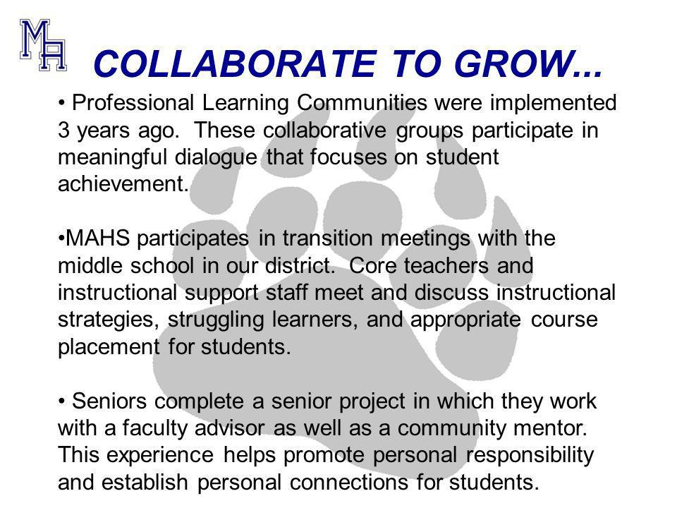 COLLABORATE TO GROW... Professional Learning Communities were implemented 3 years ago.