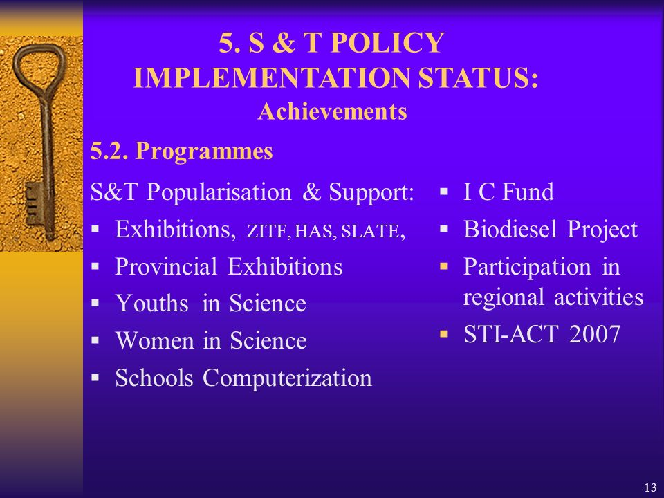 13 5.2. Programmes S&T Popularisation & Support: Exhibitions, ZITF, HAS, SLATE, Provincial Exhibitions Youths in Science Women in Science Schools Comp