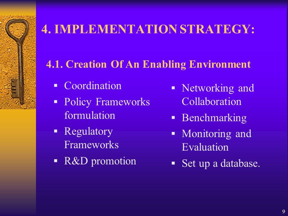 9 4. IMPLEMENTATION STRATEGY: Coordination Policy Frameworks formulation Regulatory Frameworks R&D promotion Networking and Collaboration Benchmarking