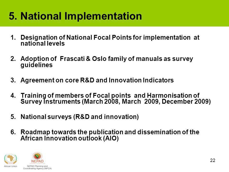 22 5. National Implementation 1.Designation of National Focal Points for implementation at national levels 2.Adoption of Frascati & Oslo family of man