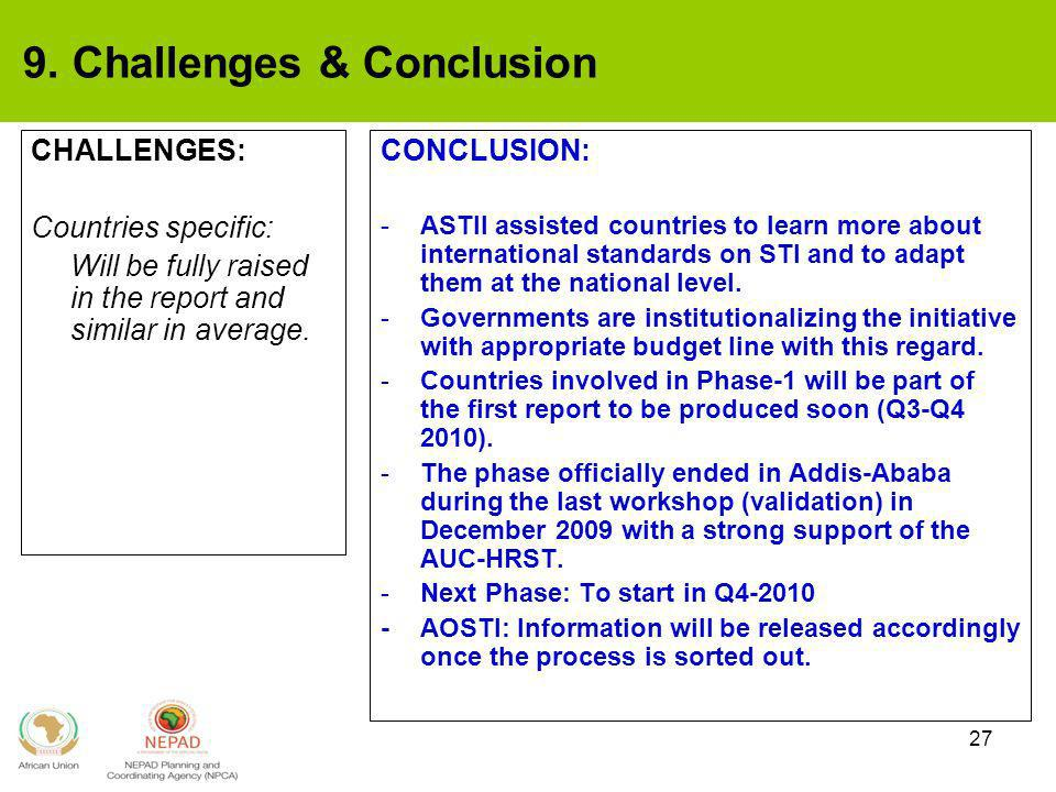 27 9. Challenges & Conclusion CHALLENGES: Countries specific: Will be fully raised in the report and similar in average. CONCLUSION: -ASTII assisted c