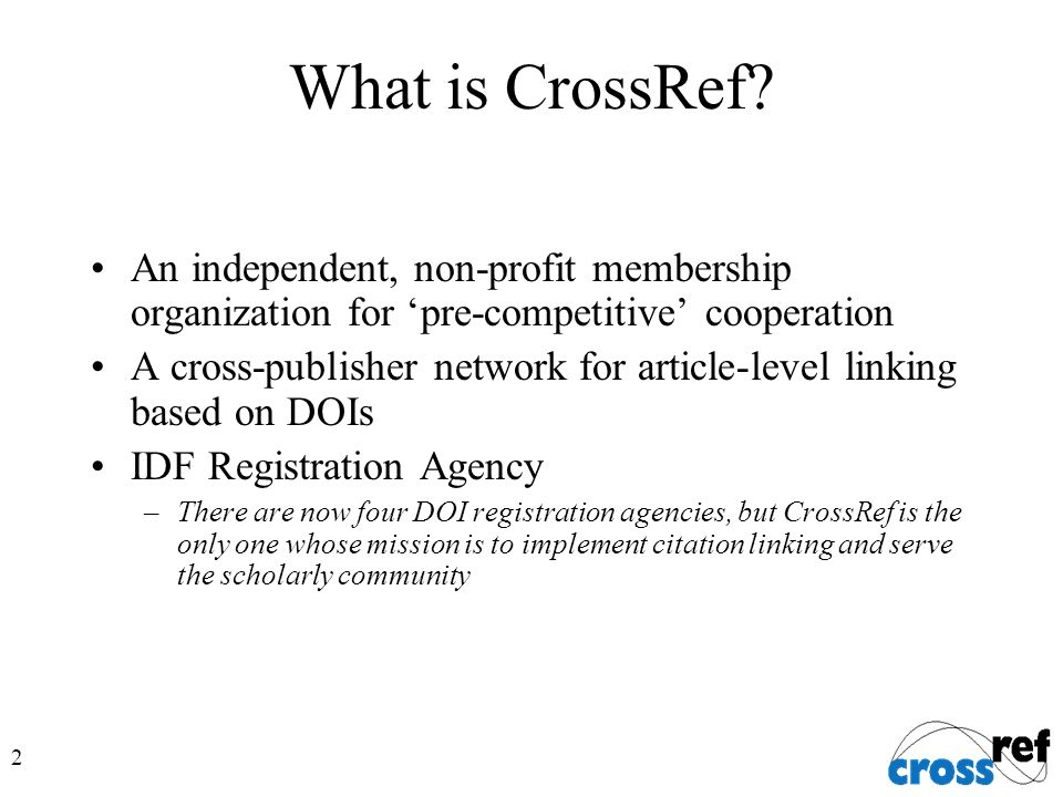 2 What is CrossRef.