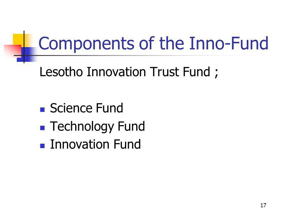 Components of the Inno-Fund Lesotho Innovation Trust Fund ; Science Fund Technology Fund Innovation Fund 17