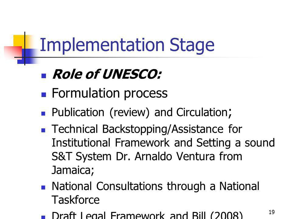 Implementation Stage Role of UNESCO: Formulation process Publication (review) and Circulation ; Technical Backstopping/Assistance for Institutional Framework and Setting a sound S&T System Dr.