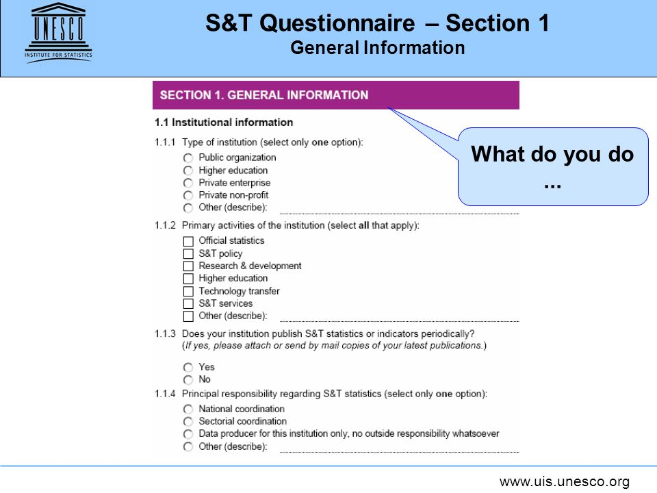 www.uis.unesco.org S&T Questionnaire – Section 1 General Information What do you do...