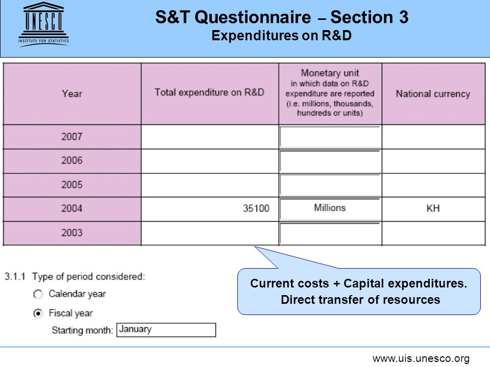 www.uis.unesco.org S&T Questionnaire – Section 3 Expenditures on R&D Current costs + Capital expenditures. Direct transfer of resources
