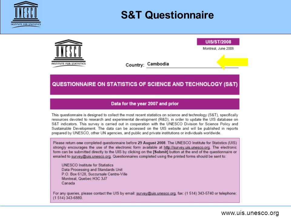 www.uis.unesco.org S&T Questionnaire