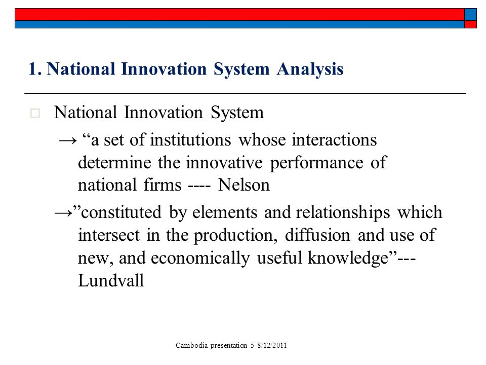 Cambodia presentation 5-8/12/2011 1. National Innovation System Analysis National Innovation System a set of institutions whose interactions determine