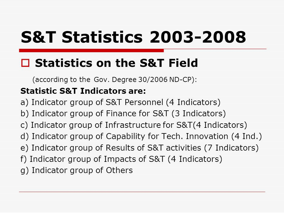 S&T Statistics 2003-2008 Statistics on the S&T Field (according to the Gov. Degree 30/2006 ND-CP): Statistic S&T Indicators are: a) Indicator group of
