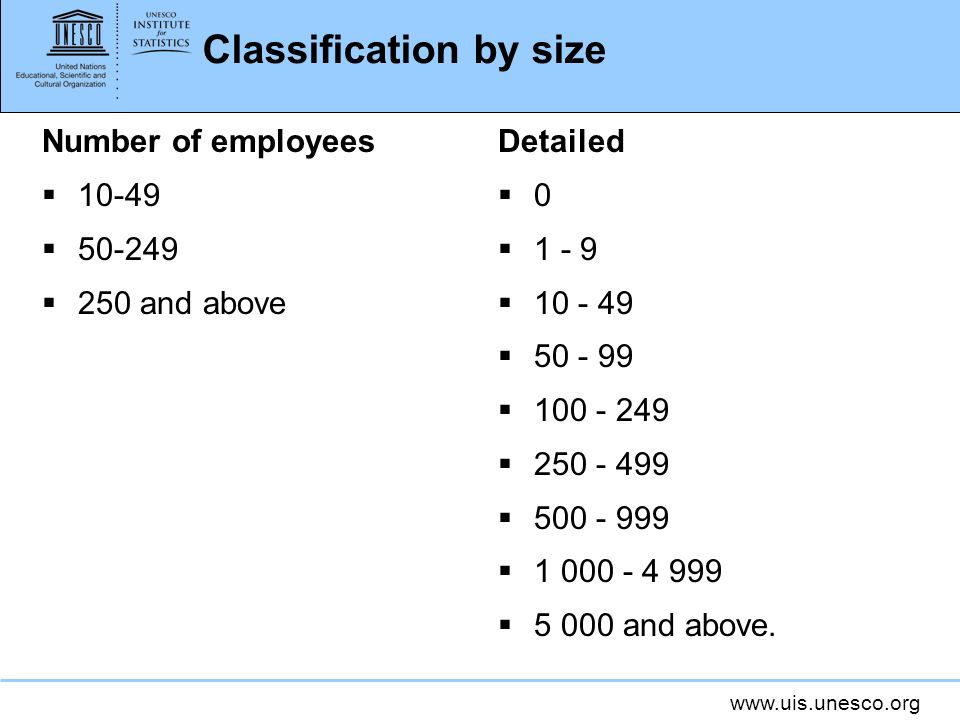 www.uis.unesco.org Classification by size Number of employees 10-49 50-249 250 and above Detailed 0 1 - 9 10 - 49 50 - 99 100 - 249 250 - 499 500 - 99