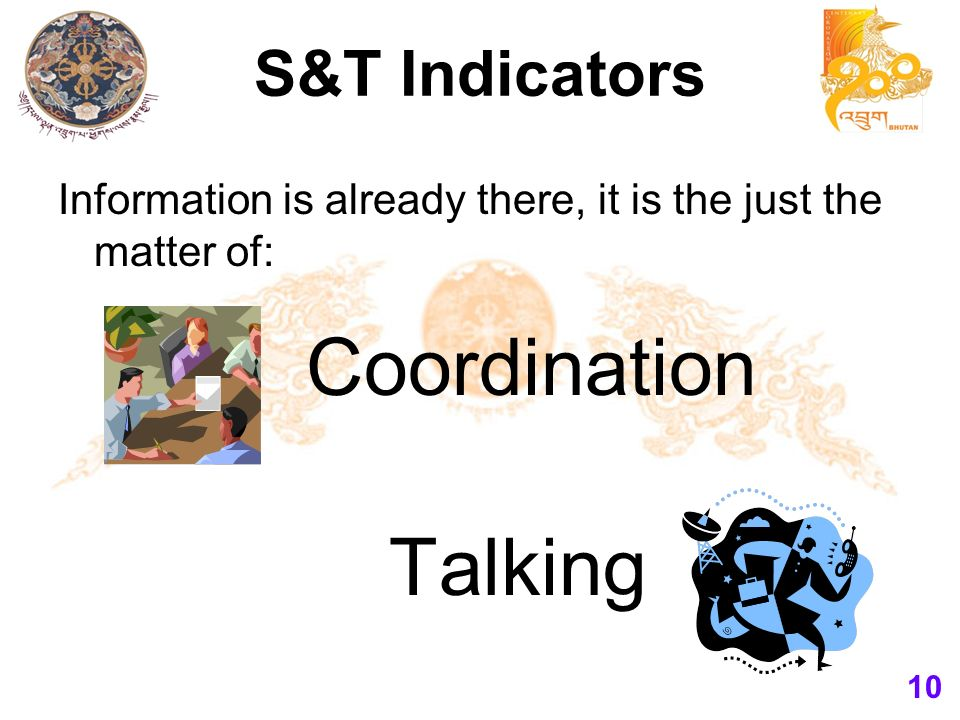 S&T Indicators Information is already there, it is the just the matter of: 10 Coordination Talking
