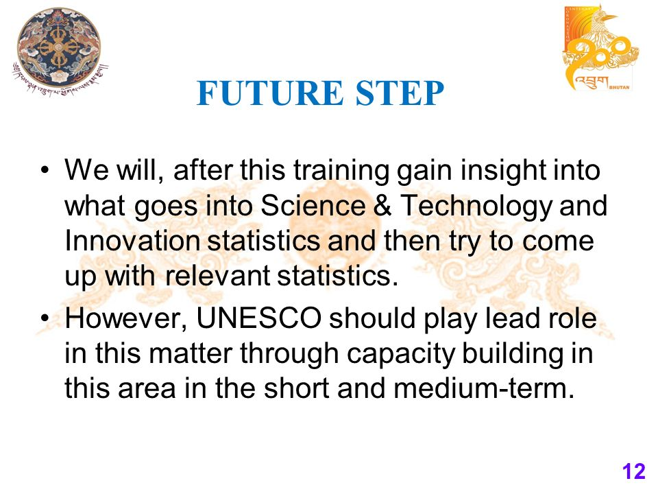 FUTURE STEP We will, after this training gain insight into what goes into Science & Technology and Innovation statistics and then try to come up with relevant statistics.