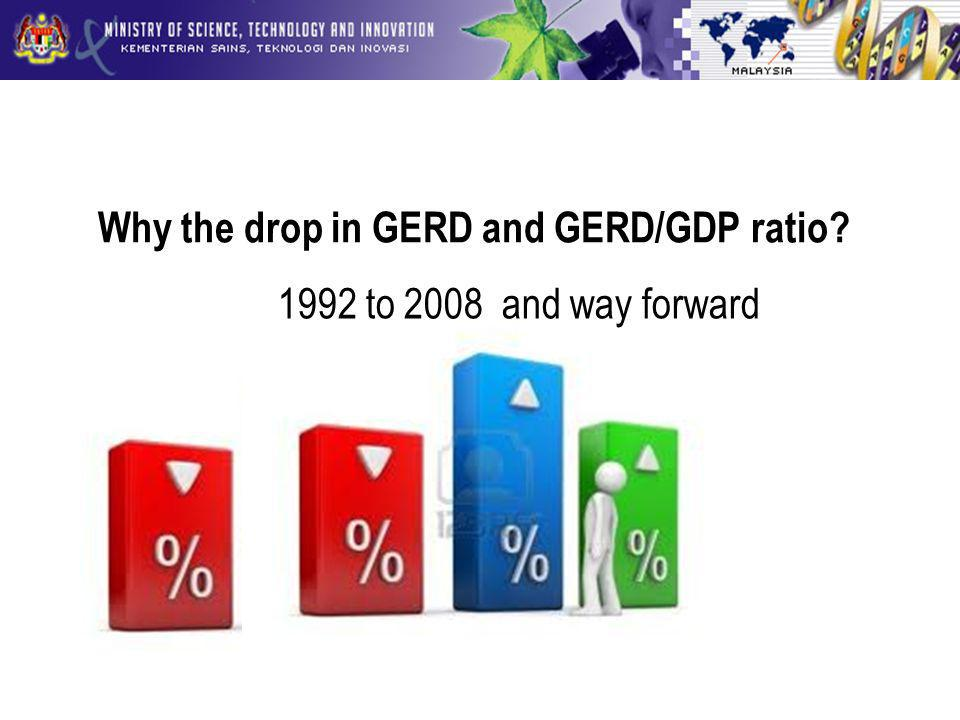 Why the drop in GERD and GERD/GDP ratio 1992 to 2008 and way forward
