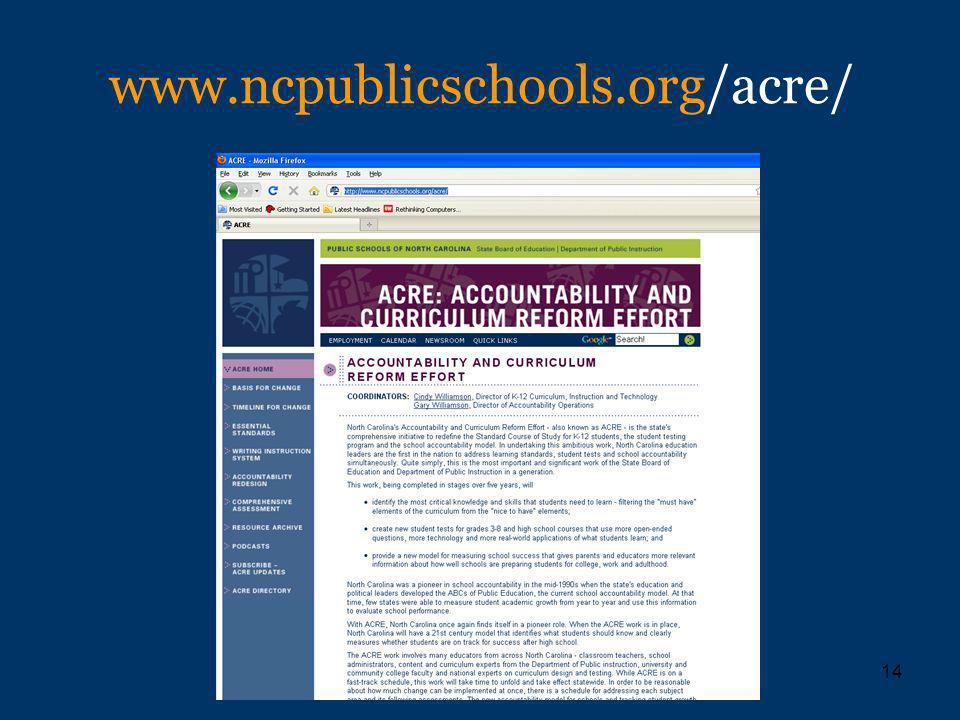 14 www.ncpublicschools.org/acre/
