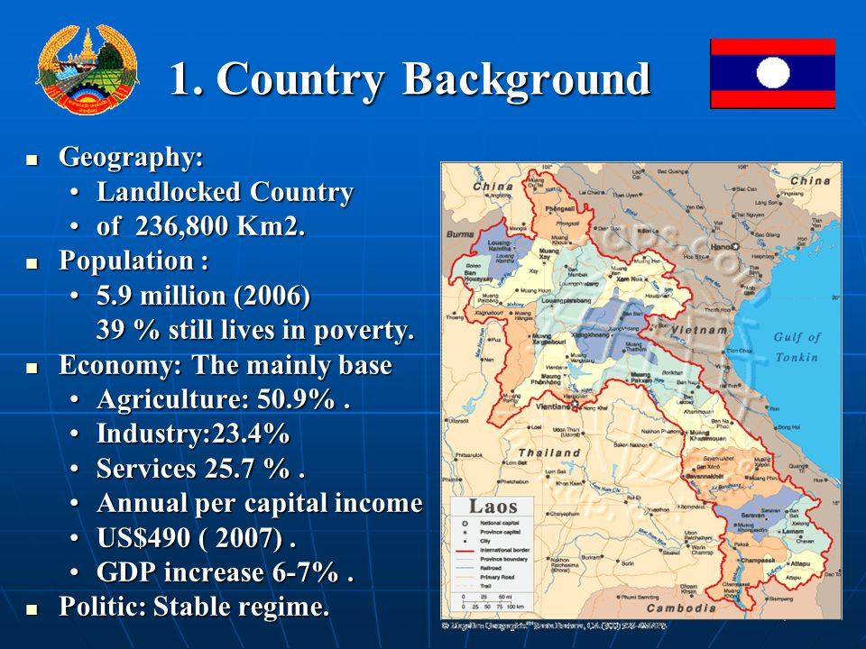 1. Country Background Geography: Geography: Landlocked CountryLandlocked Country of 236,800 Km2.of 236,800 Km2. Population : Population : 5.9 million