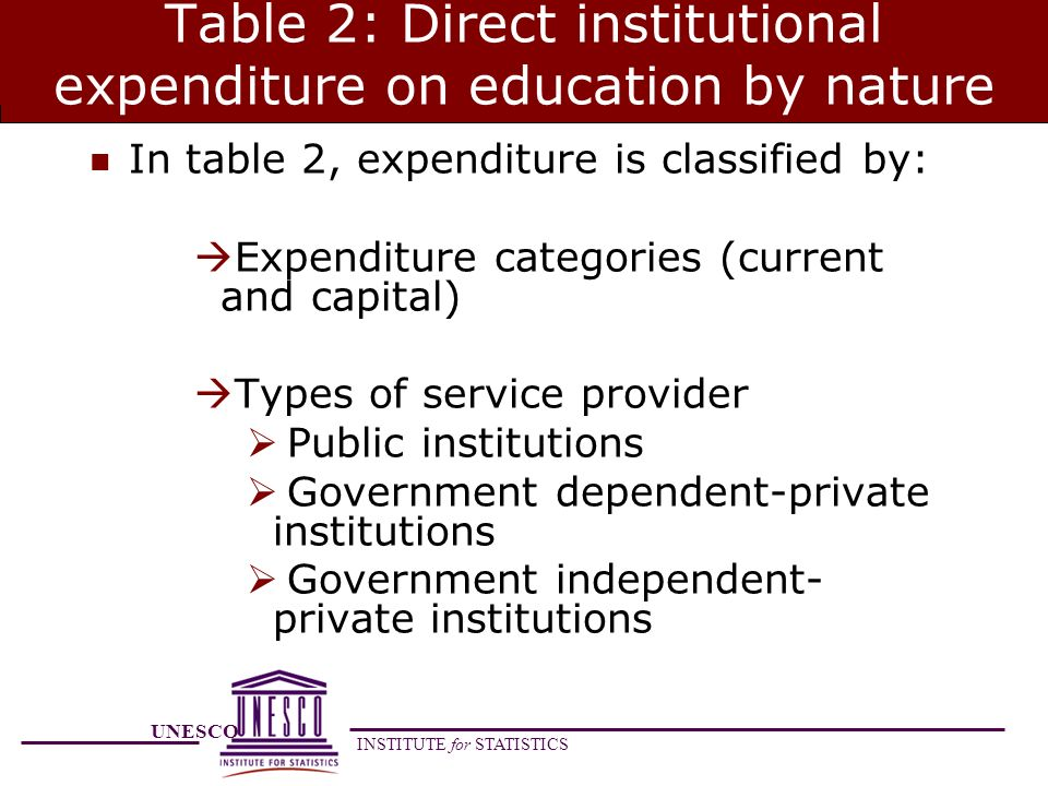 UNESCO INSTITUTE for STATISTICS Table 2: Direct institutional expenditure on education by nature In table 2, expenditure is classified by: Expenditure categories (current and capital) Types of service provider Public institutions Government dependent-private institutions Government independent- private institutions