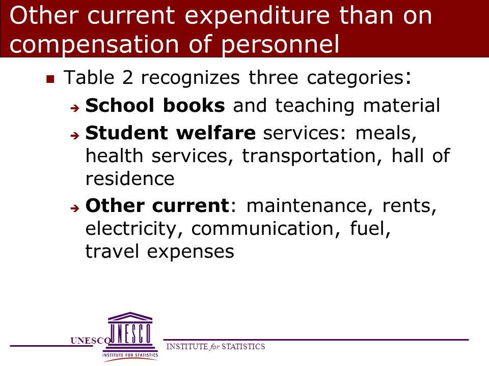 UNESCO INSTITUTE for STATISTICS Other current expenditure than on compensation of personnel Table 2 recognizes three categories : School books and teaching material Student welfare services: meals, health services, transportation, hall of residence Other current: maintenance, rents, electricity, communication, fuel, travel expenses