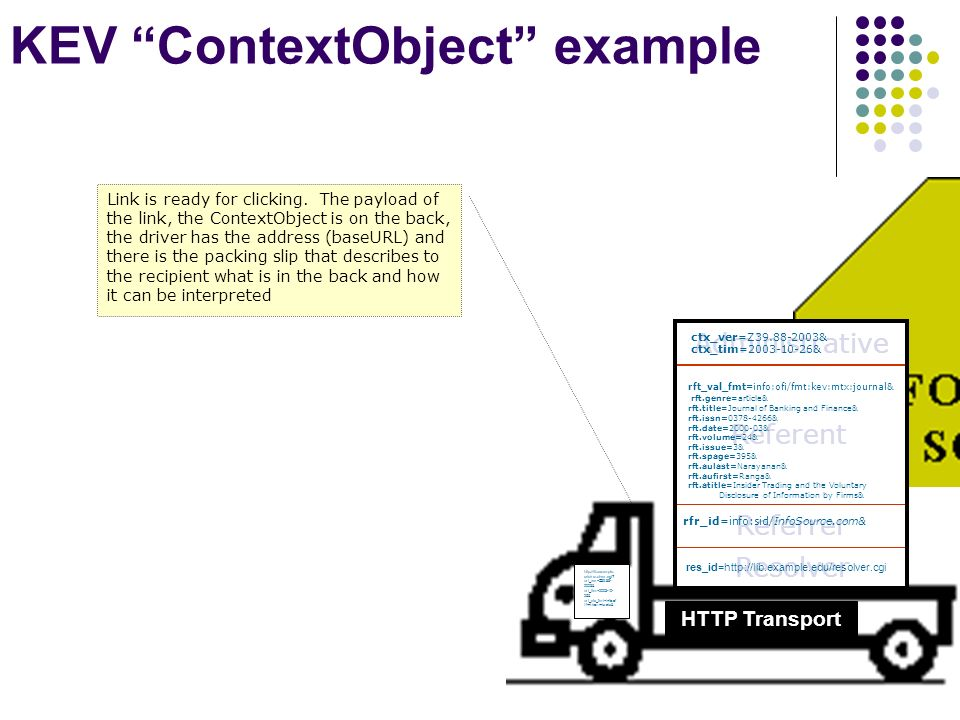 KEV ContextObject example HTTP Transport http://lib.example.