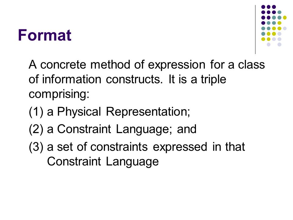 Format A concrete method of expression for a class of information constructs.