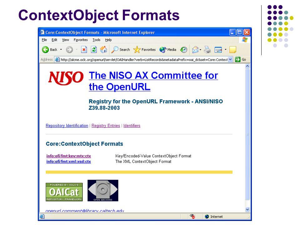 ContextObject Formats